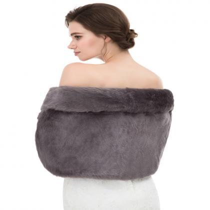 Grey Faux Fur Bolero Cape for Women..
