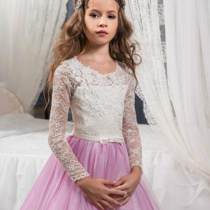long sleeve pink flower girl dress ..