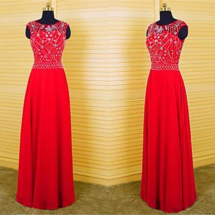 2016 Red Long Elegant Backless Prom Dress Real Photo Chiffon Crystal Sheer Neck Evening Dresses Robe De Soiree Formal Gowns