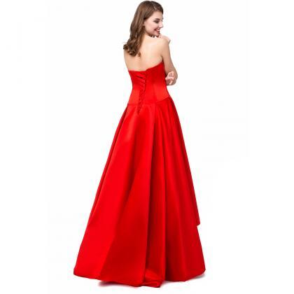 Red Satin High Low Formal Dresses F..