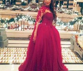2016 New Arrival Fuschia Ball Gown Evening Dresses Long Sleeve O Neck Tulle Prom Party Dress Robe De Soiree Formal Gowns
