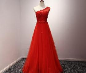 Long Red Tulle Forma..