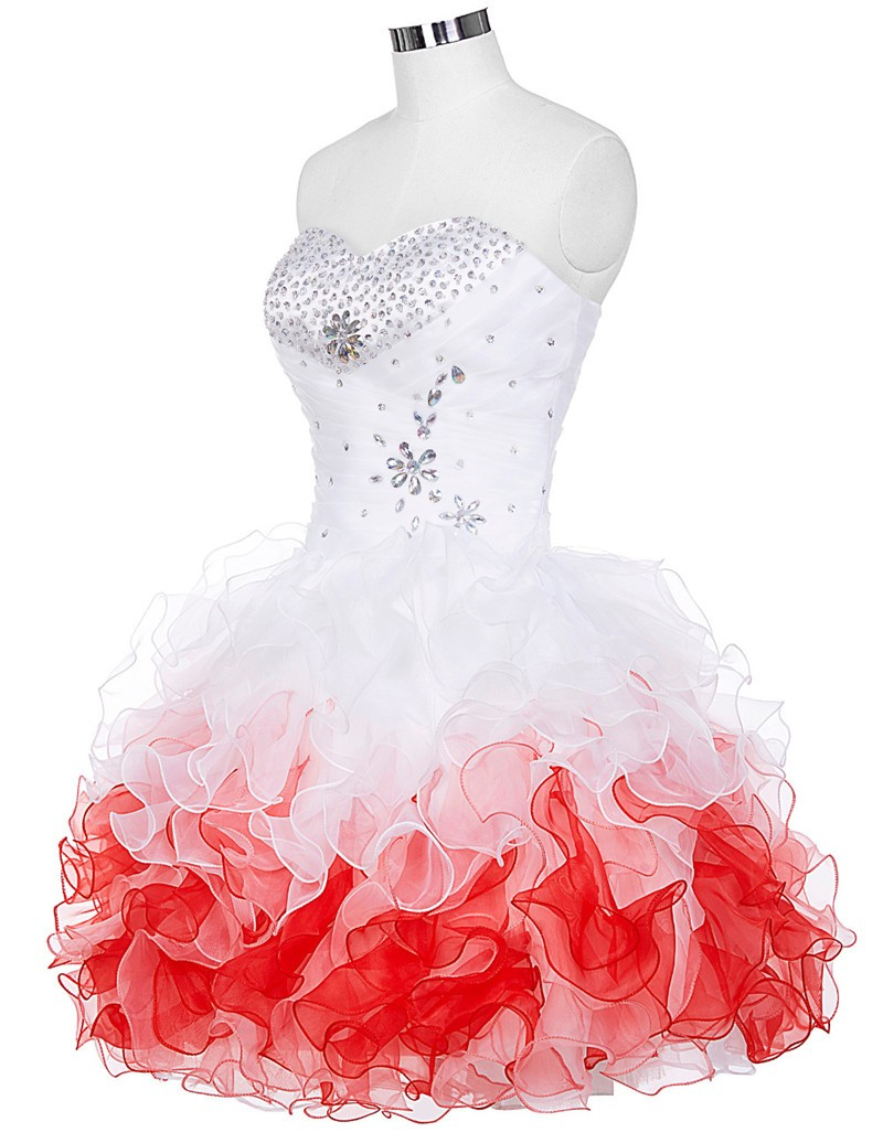 Amazing Short Prom Dress, Short Prom Gowns, Organza Short Prom Dress, Strapless Homecoming Dresses