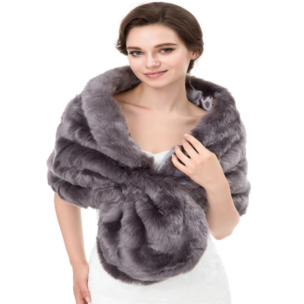 Grey Faux Fur Bolero Cape for Women Warm Bridal Wraps Scarf Collar Short Women Coat Cropped Cardigan