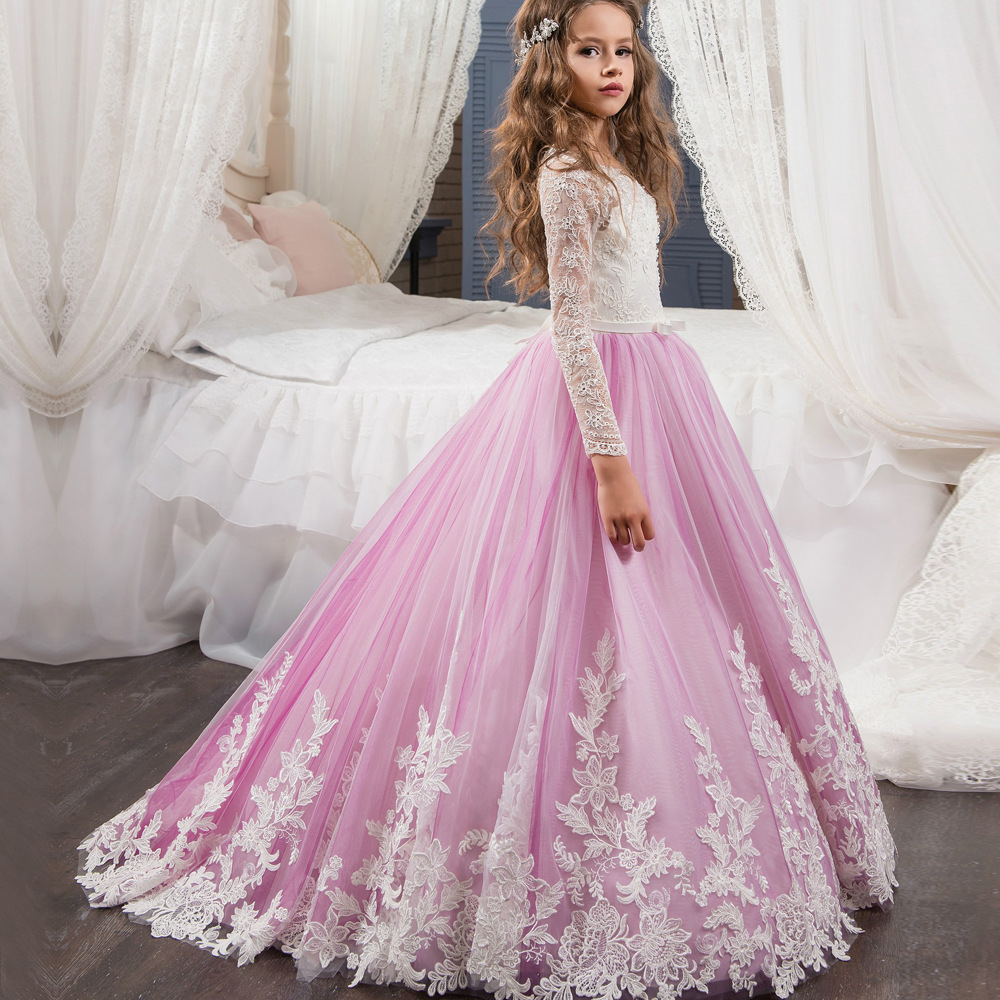 long sleeve pink flower girl dress with belt ,girls flower girl dresses wedding