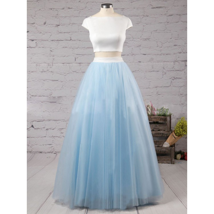 Cap Sleeve Two Piece Prom Dresses Satin Top Tulle Skirt Boat Neck Formal Gowns