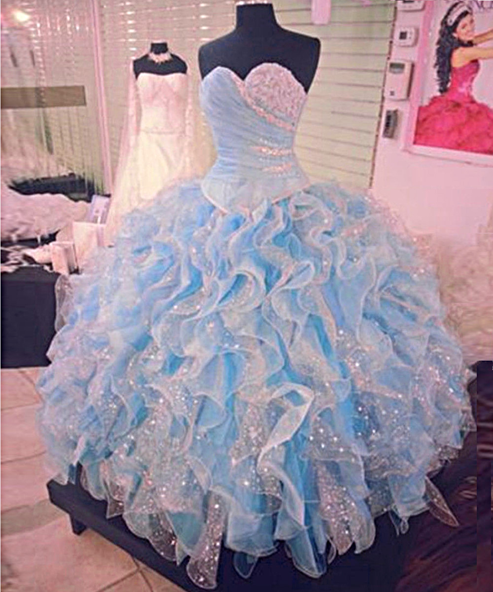 2019 Prom Dresses, Ball Gown Quinceanera Dresses, Sweet 16 Dresses,Long Strapless Prom Dresses,Beaded Evening Dresses,Elegant Prom Dresses,Blue Evening Dresses,Party Dresses