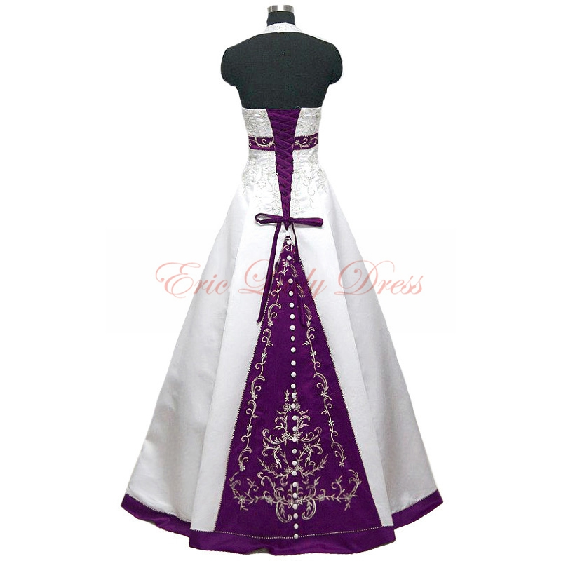 2015 wedding dresses halter white and purple embroidery for Wedding dress with purple embroidery