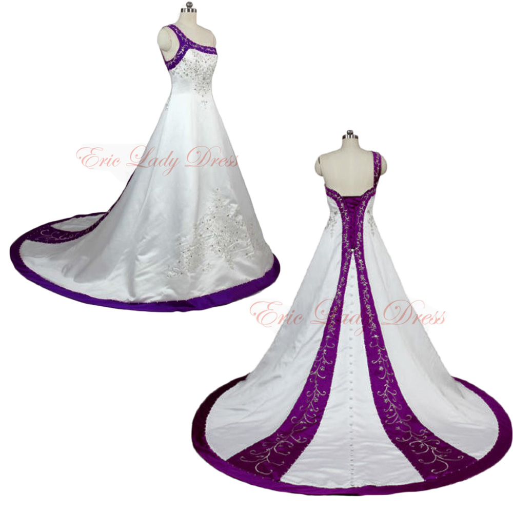 2015 wedding dresses white and purple embroidery wedding for Wedding dress with purple embroidery