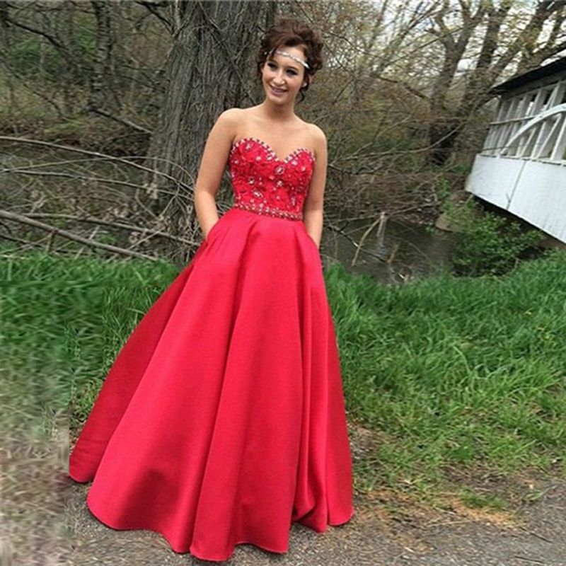 Red Sweetheart Wedding Bridal Dresses,Long Elegant Satin Bridesmaid Dresses, Sexy Sweetheart Beaded Women Prom Dresses ,Long Elegant Formal Dresses Party Evening Gown