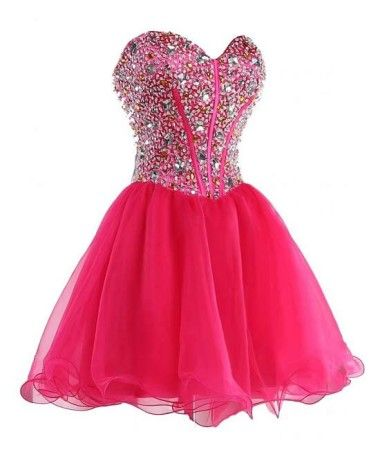 2016 Sexy Short Hot Pink Sweetheart Organza Prom Dress ...