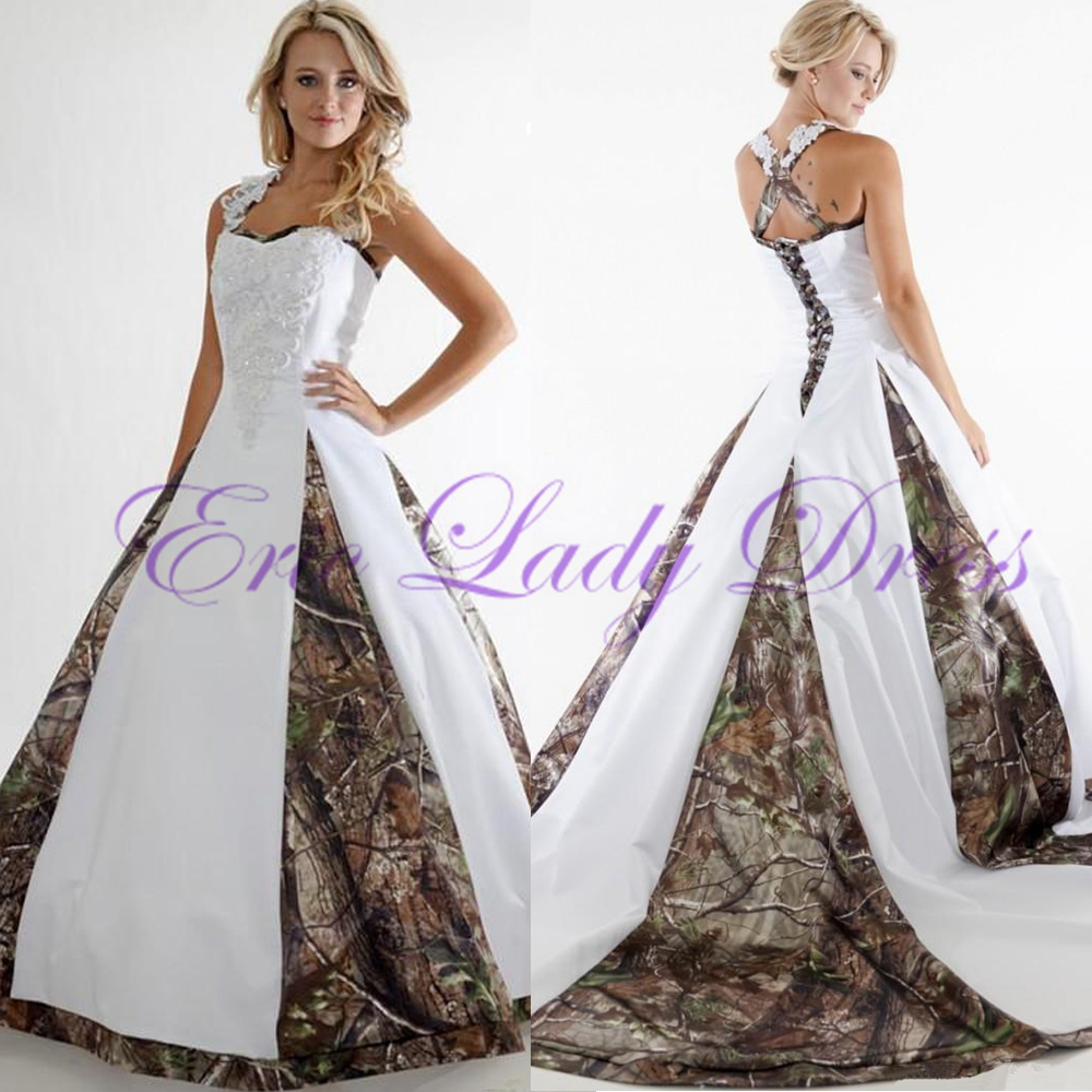 White Wedding Dresses With Camo : Wedding dress camo white satin