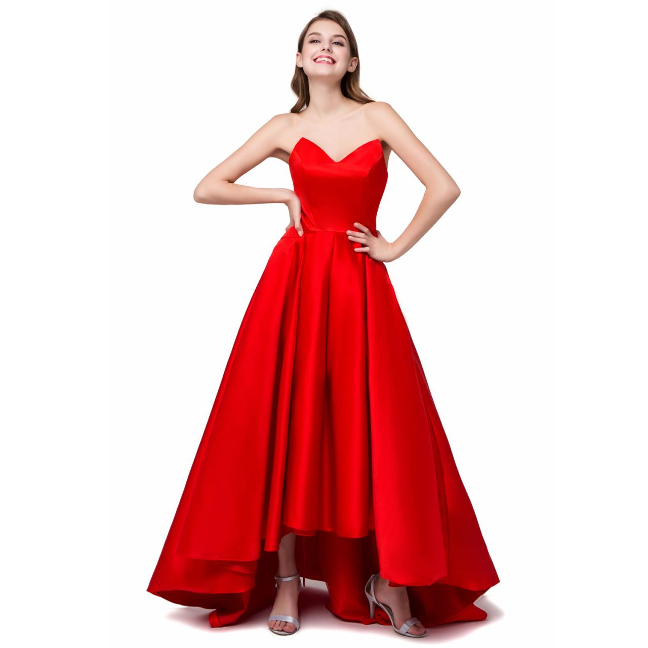 Red Satin High Low Formal Dresses Featuring V Neckline And Ruched Skirt - Evening Gowns,High Low Prom Dress