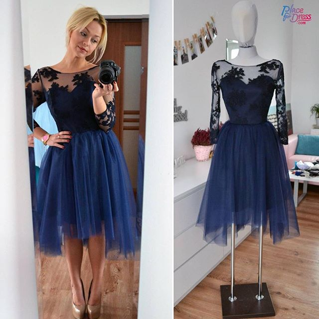 2017 Sexy Short Navy Blue Scoop Tulle Prom Dress , Graduation Dresses 2017,Party Dresses,Short Evening Dresses, Short Prom Dress 2017