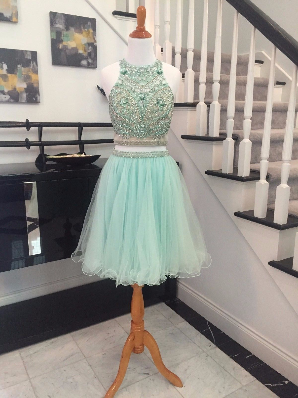 New Arrival 2 Piece Prom Dresses , Graduation Dresses 2017,Party Dresses,Evening Dresses, Short Prom Dress 2017,Beaded Homecoming Dresses