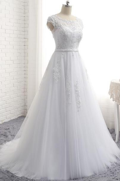 Charming White A Line Prom Dresses Tulle Cap Sleeve Evening Gowns With Lace Bodice
