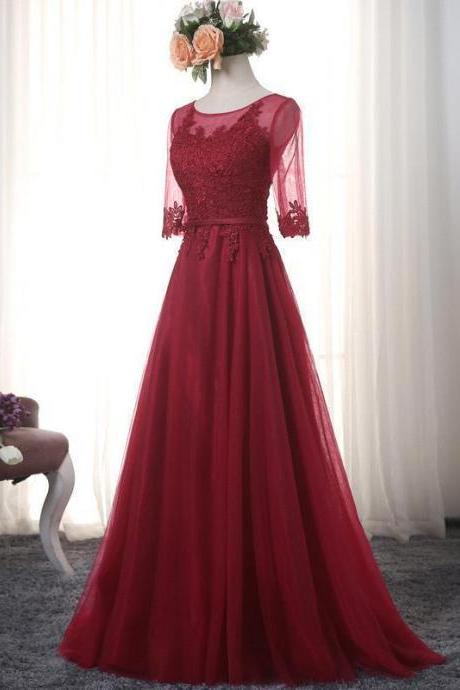 Long Elegant Burgundy Prom Dresses With Short Sleeve Floor Length Tulle Lace Applique Evening Gowns
