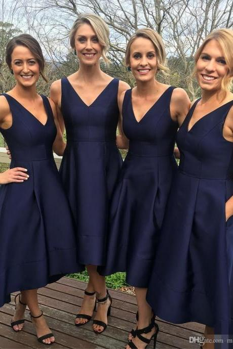 Navy Blue Bridesmaid Dresses,Short Bridesmaid Dresses,Bridesmaid Dresses,High Low Bridesmaid Dresses,Satin Bridesmaid Dresses,Cheap Bridesmaid Dresses