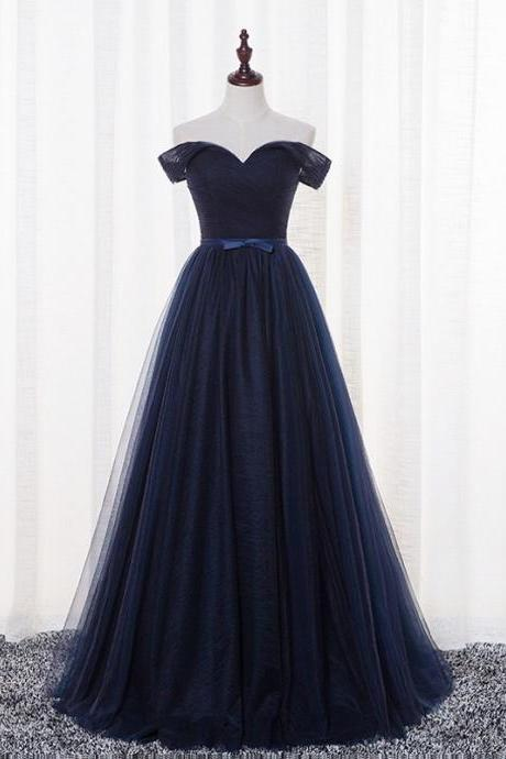 Sexy Navy Blue Tulle Prom Dresses Featuring Off The Shoulder -- Long Elegant Formal Dress, Party Dresses