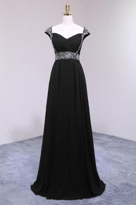 Sexy Long Black Prom Dresses Featuring V Neckline And Cap Sleeve -- Long Elegant Beaded Formal Dress, Party Dresses