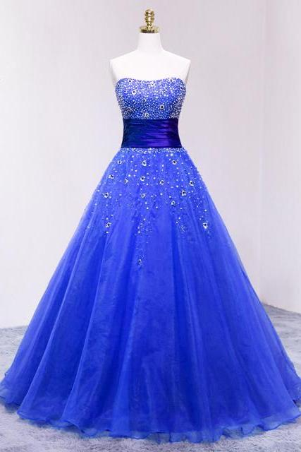 Blue Strapless Organza Long Prom Dress With Sweetheart Neckline
