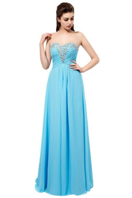 Sparkly Long Light Blue Bridesmaid Dresses Rhinestones Beaded Sweetheart Neckline Vestido De Festa De Casamento Chiffon Party Dress Formal Gowns