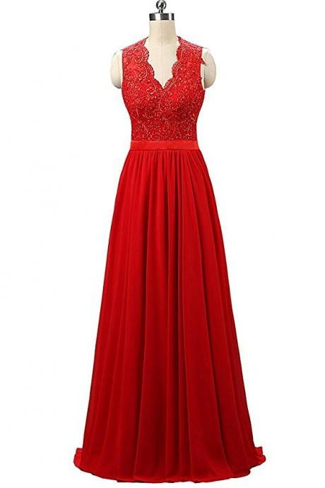 Red V Neck A Line Backless Bridesmaid Dress,Floor Length Sleeveless Chiffon Bridesmaid Dresses, Long Elegant Prom Dresses Party Evening Gown