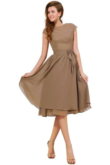 Tea Length Coffee Cap Sleeve Bridesmaid Dress,Short Sashed Button Zipper Bridesmaid Dresses,Knee Length Cheap Simple Formal Party Evening Gown