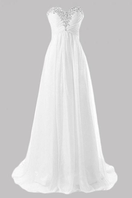 Strapless Sweetheart Ruched Chiffon A-line Wedding Dress with Rhinestones Embellishment and Lace-Up Back