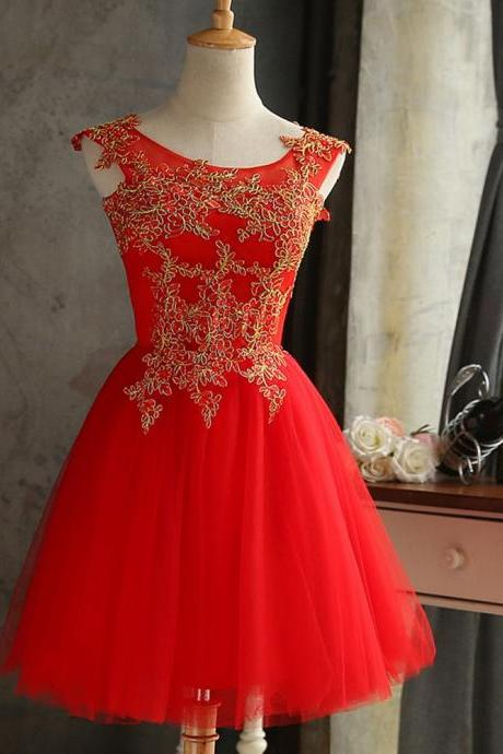 Short Red Bridesmaid Dress,Short A Line Lace Applique Champagne Bridesmaid Dresses,Elegant Short Cheap Prom Dresses Party Evening Gown