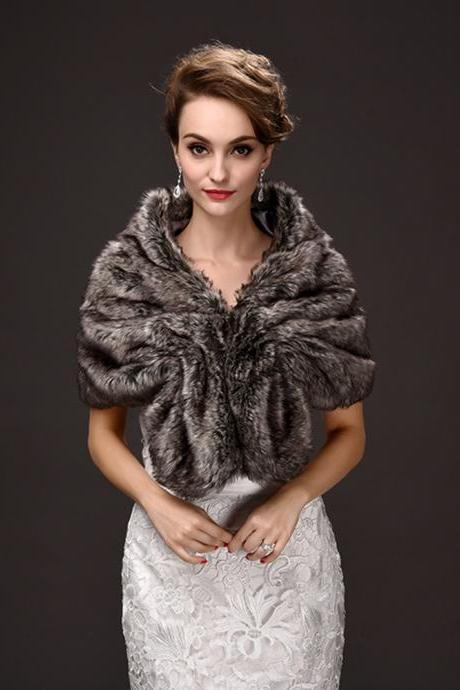 Grey Christmas Women's Scarf Bolero Fashion Cape For Prom Evening Party Short Coat
