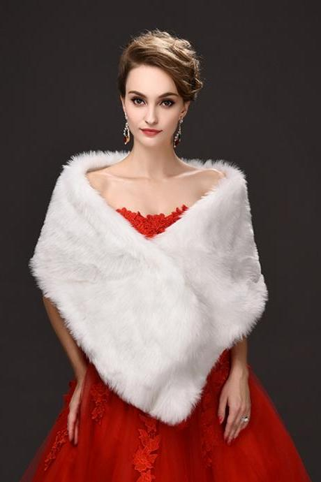 Winter White Faux Fur Bridal Cape Women Warm Scarf