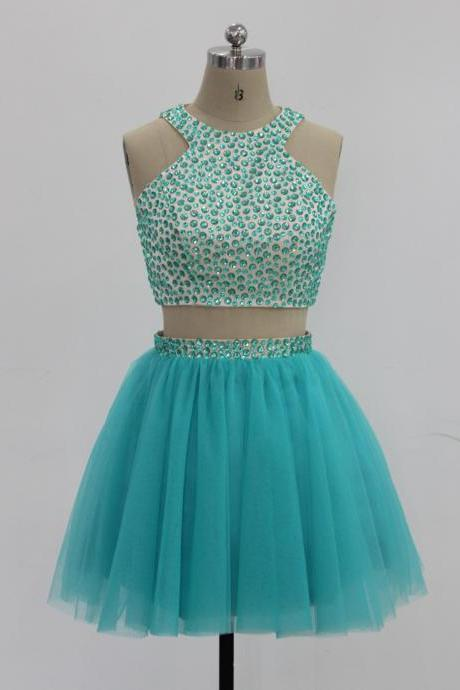 Turquoise Halter Beaded Two-Piece Tulle Short Homecoming Dress, Party Dress, Prom Dress