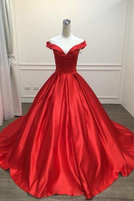 Red Satin Floor Length V Neck Prom Dress, Party Dresses, Chapel Train Evening Dresses, Long Prom Dress 2018