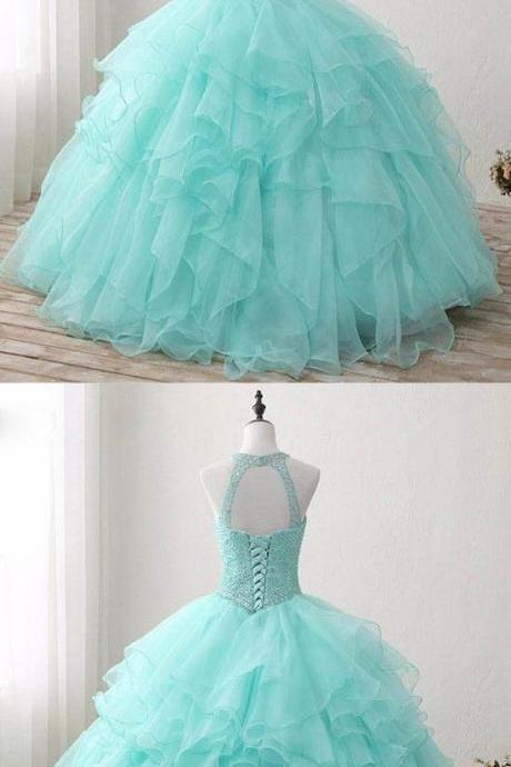 Sweet 16 dresses, Quinceanera Dresses 2018,Sexy Beaded Prom Dresses, Ball Gown