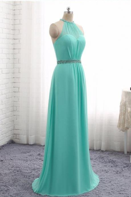 A-line Blue Prom Dresses Chiffon Halter Beaded Evening Gowns