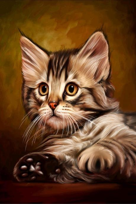 5d diy diamond painting,cat diamond painting,animal diamond painting,home decoration