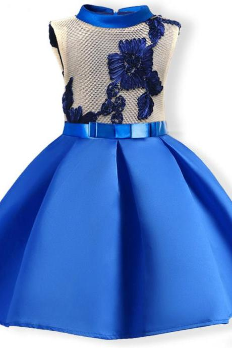 2018 New blue girls dresses for party and wedding,elegant satin flower girl dress