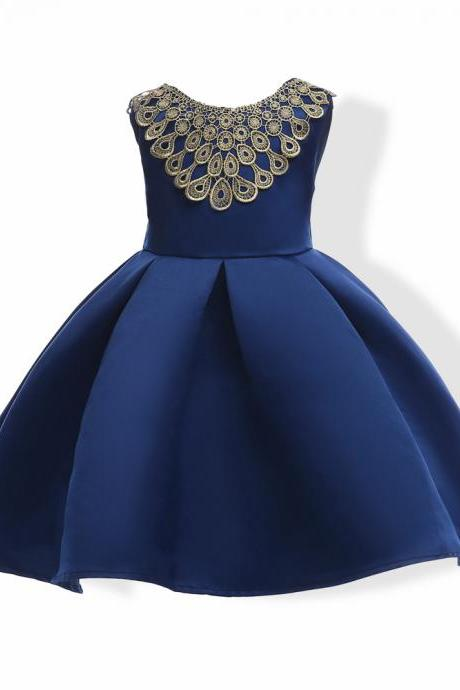 2018 blue flower girl dresses for wedding and party