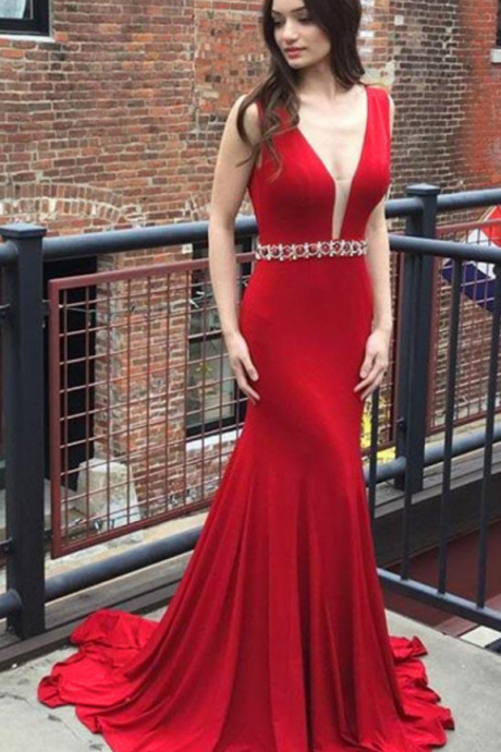 Sexy Red Evening Dresses Long Elegant Satin V Neck Prom Dress Backless Formal Gowns