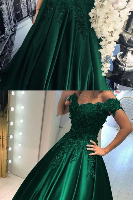Sexy Long Dark Green Off The Shoulder Formal Dresses Showcases V Neckline - Evening Gowns, Prom Dresses