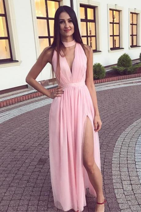Sexy Pink Evening Dresses With Deep V Neck,Long Elegant Chiffon Prom Dresses