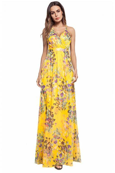 Yellow V-Neck Floral Print Chiffon Maxi Dress with Crisscross Back