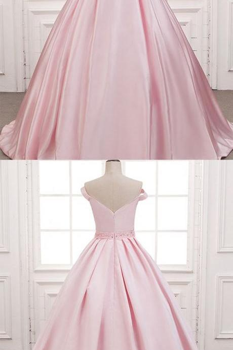Marvelous Pink Prom Dresses Satin V Neck Off The Shoulder Chapel Train Formal Gowns
