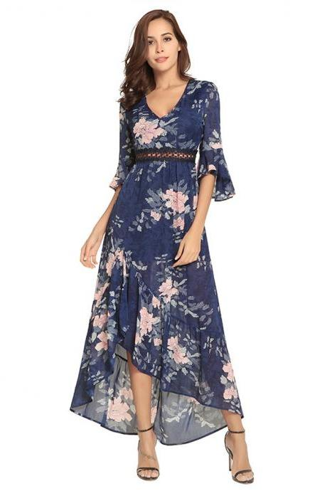 Navy Blue Half Sleeve Printed Floral Maxi Dresses With V Neck And Side Split