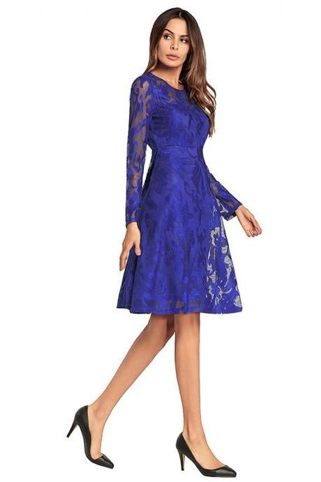 Long Sleeve Knee Length Lace Women Dresses,2018 New Arrival O Neck Dresses