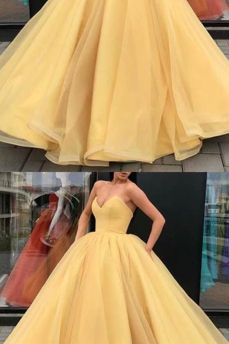 Long Yellow Prom Dresses Strapless Ball Gown Evening Formal Dresses