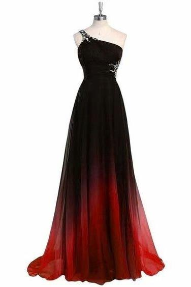 Long Prom Dresses One Shoulder A Line Chiffon Evening Formal Dresses