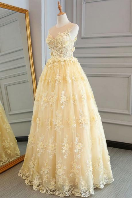Long Prom Dresses Yellow Sheer Neck A Line Lace Evening Formal Dresses