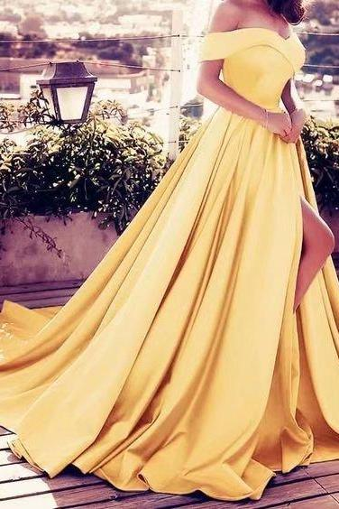 Long Prom Dresses Yellow A Line Side Split Evening Formal Dresses